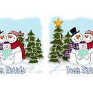 Snowman Family Buon Natale Coffee Mugs by Linda Allan