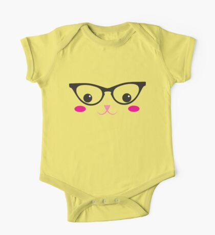 Cute kitty in glasses One Piece - Short Sleeve