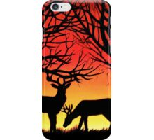 Grazing Deer at Sunset, acrylic painting iPhone Case/Skin