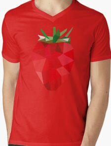 Poly Strawberry Mens V-Neck T-Shirt