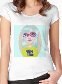 Suzie - Pop Art Girl Portrait Print Women's Fitted Scoop T-Shirt