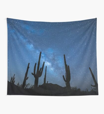 Milky Way Skyscape in the Desert Full with Succulents Wall Tapestry