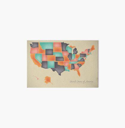 USA map artwork 3D color illustration Art Board