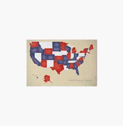 USA map artwork with national flag colors illustration Art Board