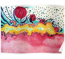 Caterpillar, abstract ink painting. Poster