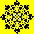 Bright Yellow Mandala by Julie Everhart by Julie Everhart