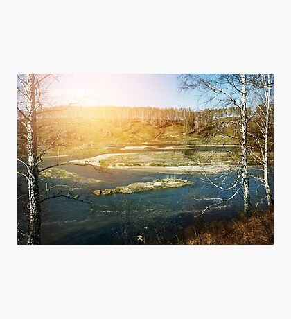 Landscape view of the river overflow among hills Photographic Print