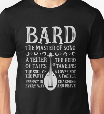 BARD, THE MASTER OF SONG - Dungeons & Dragons (White) Unisex T-Shirt