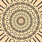 Mandala in Beige and Black by Julie Everhart by Julie Everhart