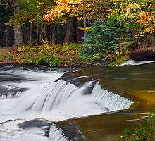 Waterfall in Autumn Forest by Kenneth Keifer