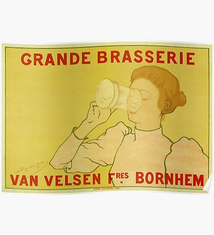 Van Velsen Belgian Beer vintage ad with woman Poster