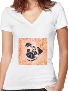 pug 26a Women's Fitted V-Neck T-Shirt