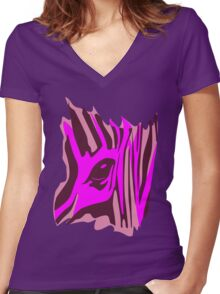 Animal skin Zebra Women's Fitted V-Neck T-Shirt