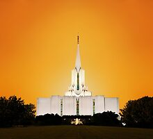 Jordan River Temple Orange Sunset 20x30 by Ken Fortie