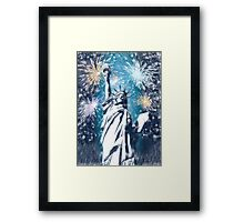 Statue Liberty 4th of July Fireworks Framed Print