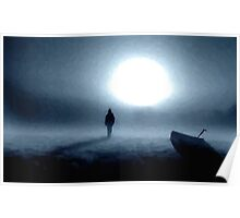 landscape portrait person night moon Poster