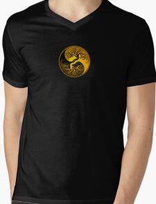 Yellow and Black Tree of Life Yin Yang Mens V-Neck T-Shirt