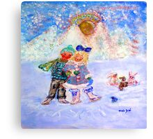 Skaters in Love Decor & Gift by Marie-Jose Pappas Canvas Print