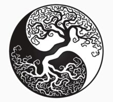 White and Black Tree of Life Yin Yang by Jeff Bartels