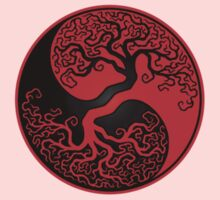 Red and Black Tree of Life Yin Yang One Piece - Short Sleeve