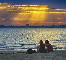 End of a hot day, St Kilda Beach by David Brewster