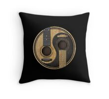 Old and Worn Acoustic Guitars Yin Yang Throw Pillow