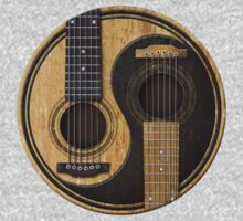 Old and Worn Acoustic Guitars Yin Yang Kids Clothes