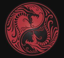 Yin Yang Dragons Red and Black Kids Clothes