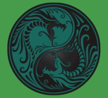 Yin Yang Dragons Teal Blue and Black Kids Clothes