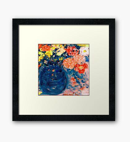 Romance Flowers in Blue Vase Designer Decor & Gifts Framed Print