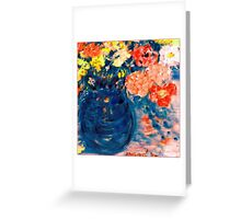 Romance Flowers in Blue Vase Designer Decor & Gifts Greeting Card