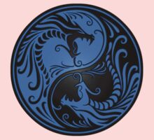Yin Yang Dragons Blue and Black Kids Tee