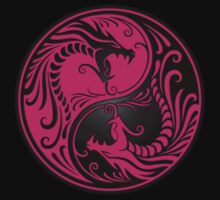Yin Yang Dragons Pink and Black Kids Tee