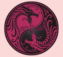 Yin Yang Dragons Pink and Black One Piece - Short Sleeve