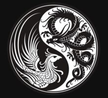 White and Black Dragon Phoenix Yin Yang Kids Clothes