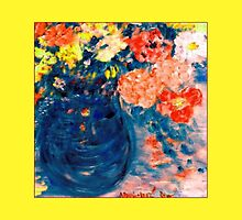 Romance Flowers in Blue Vase Artist Decor & Gifts by innocentorigina