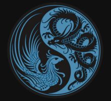 Blue and Black Dragon Phoenix Yin Yang Kids Clothes