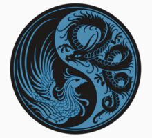 Blue and Black Dragon Phoenix Yin Yang by Jeff Bartels