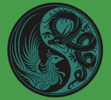 Teal Blue and Black Dragon Phoenix Yin Yang Kids Clothes