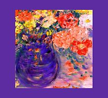 Romance Flowers in Purple Vase Artist Decor & Gifts by innocentorigina