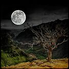 Full Moon with Tree by Julie Everhart by Julie Everhart