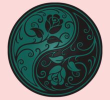 Teal Blue and Black Yin Yang Roses One Piece - Short Sleeve