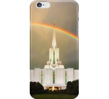 Jordan River Temple Under the Rainbow 20x24 iPhone Case/Skin