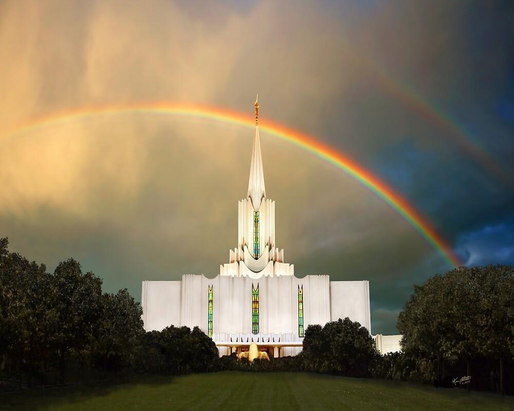 Jordan River Temple Under the Rainbow 20x24 by Ken Fortie