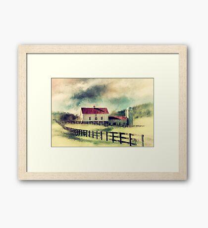 Vintage Red Roof Barn Framed Print