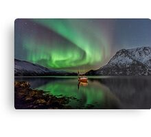 Auroras and the boat  Metal Print