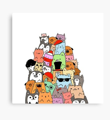 Cute Cats and Dogs Doodle Canvas Print