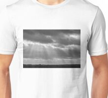 A little ray of light in Black and White Unisex T-Shirt