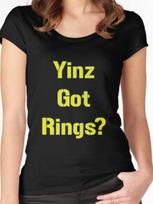 Pittsburgh Steelers Yinz Got RIngs? Women's Fitted Scoop T-Shirt
