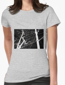 Black Sky, White Birds and Electricity Poles. Womens Fitted T-Shirt